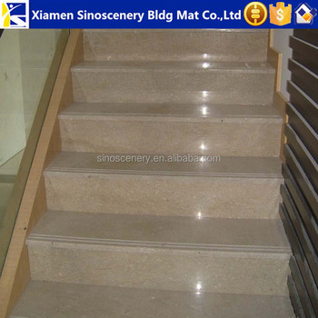 Botticino Classico Beige Marble Stone Staircase With High Quality Low Cost