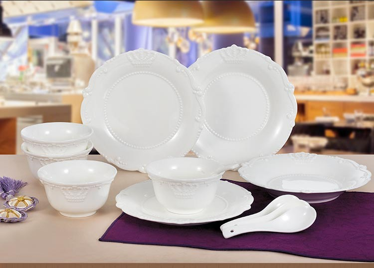 Wholesale Price Ceramic Crown Dinnerware Plates Dinnerware