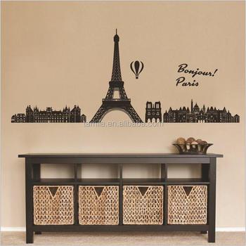 home decorative paris eiffel tower wall stickers - buy pvc home