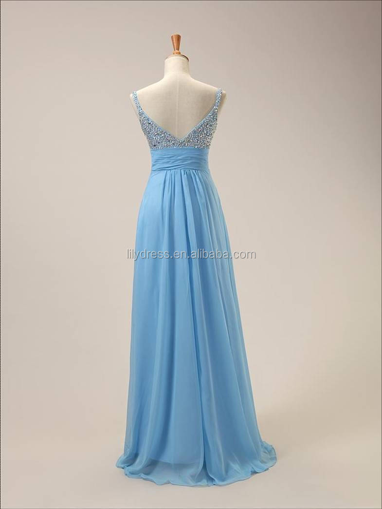 965080030 Light Blue Sexy Chiffon Beading Custom Made Designs Floor Length Long Evening  Party Wear ED057 ladies