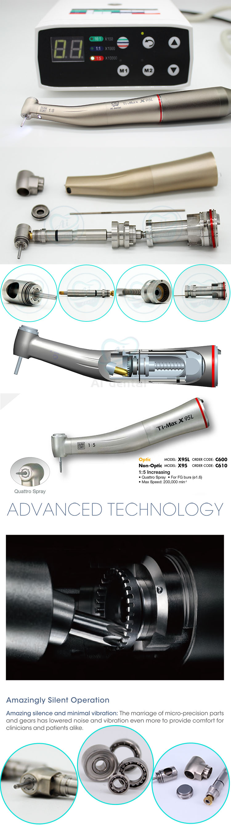 Best dental handpiece 1:5 contra angle increase high speed hand piece