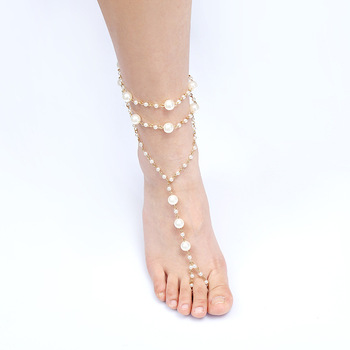 Women Barefoot Sandals Beach Wedding Foot Jewelry Vintage Pearls