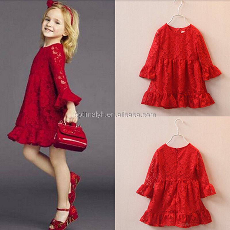 Back to school Autumn red Dress girls long sleeve lace dress The horn sleeve falbala girls dress