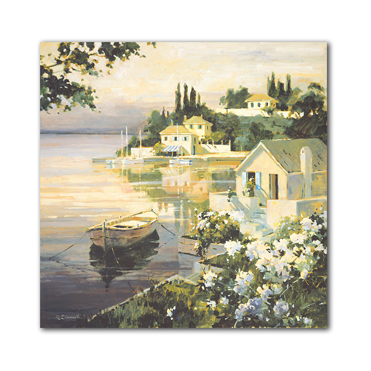 High Quality Professional Country river house boat Beautiful Scenery Drawing Art Painting Handmade Wall Art