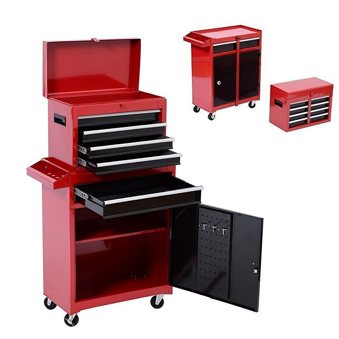 Get Quotations · Tenive Pro Deluxe 5 Drawers Top Removable Rolling Mobile Tool  Cabinet Tool Box Tool Storage Chest