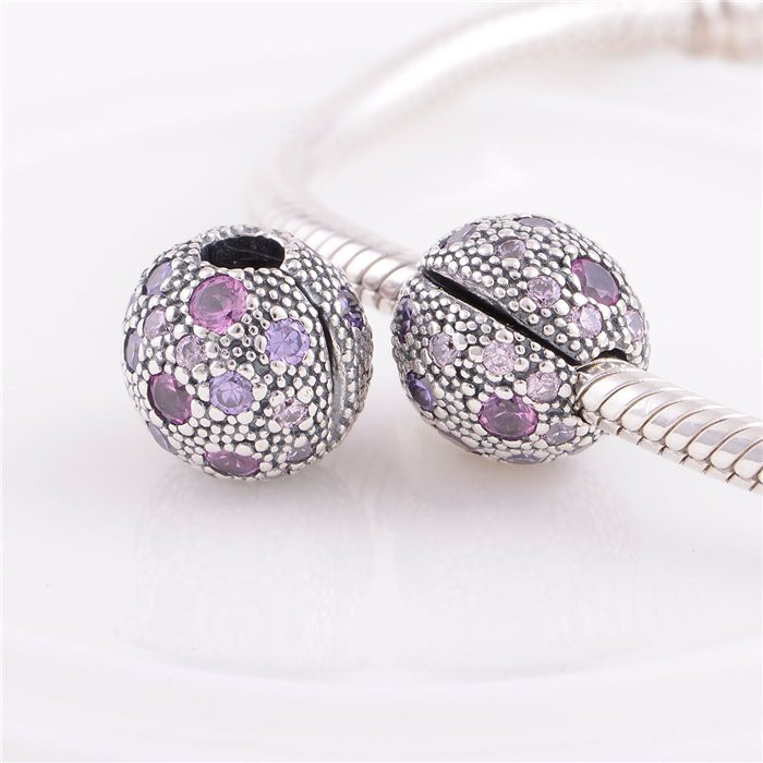 477d09960 Get Quotations · Pure 925 Sterling Silver Lock Clip Stopper Charm Beads  Purple and Pink CZ Stones Bead DIY