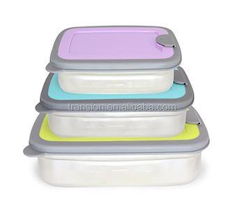Set Of 3 188 Stainless Steel Rectangular Food Container Nesting