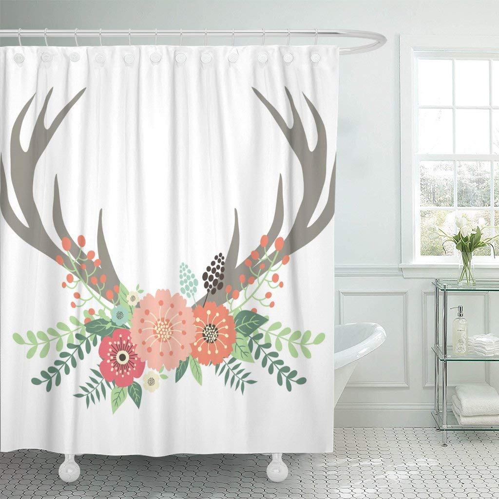 TOMPOP Shower Curtain Brown Floral Deer Antlers with Flowers Pink Hipster Wedding Waterproof Polyester Fabric 72 x 72 inches Set with Hooks