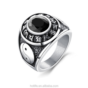 3 Set Retro Yingyang Men Fan Rings With Black Artigicial Diamond