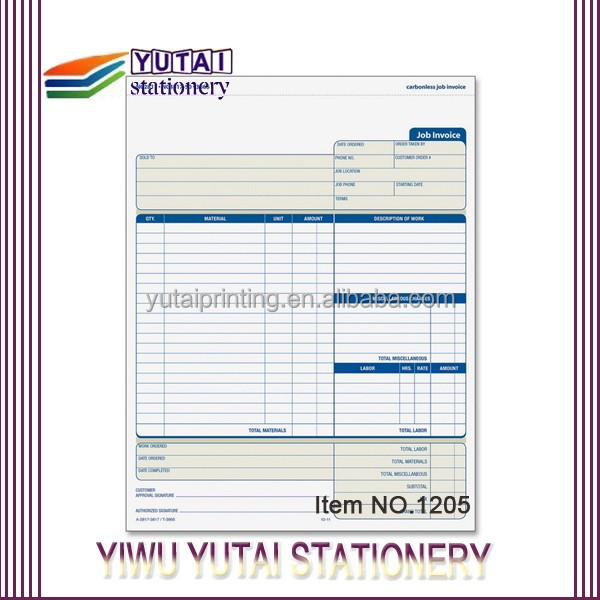 Vista Print Invoice Book,Carbonless Form Invoice Triplicate Books ...