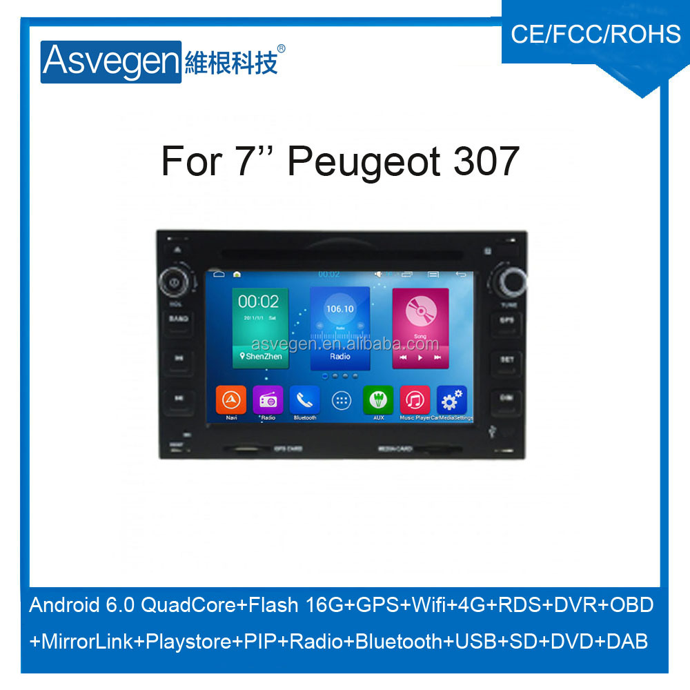 Wholesale Android Car DVD Player For 7'' Peugeot 307 GPS Support Radio Wifi Playstore With Auto Spare Parts Car