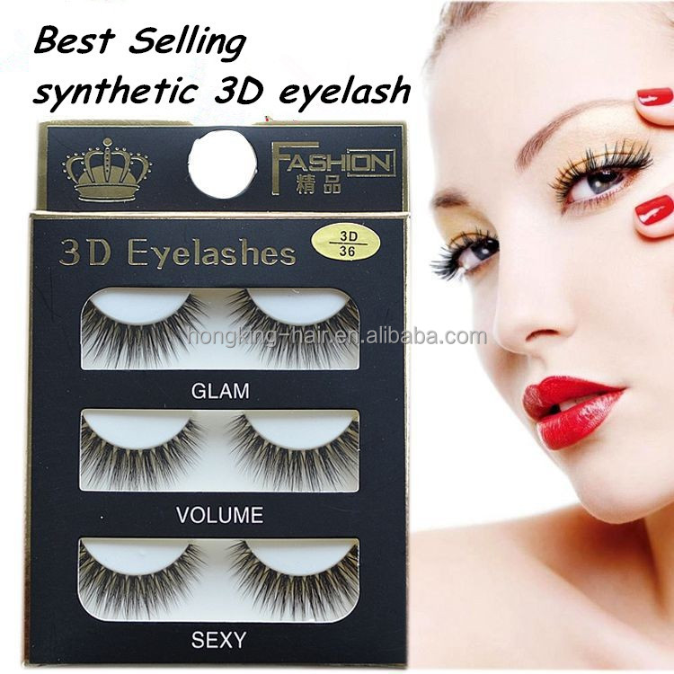 China Supplier 3 Pairs Faux Mink Eyelashes Synthetic Fake Lashes