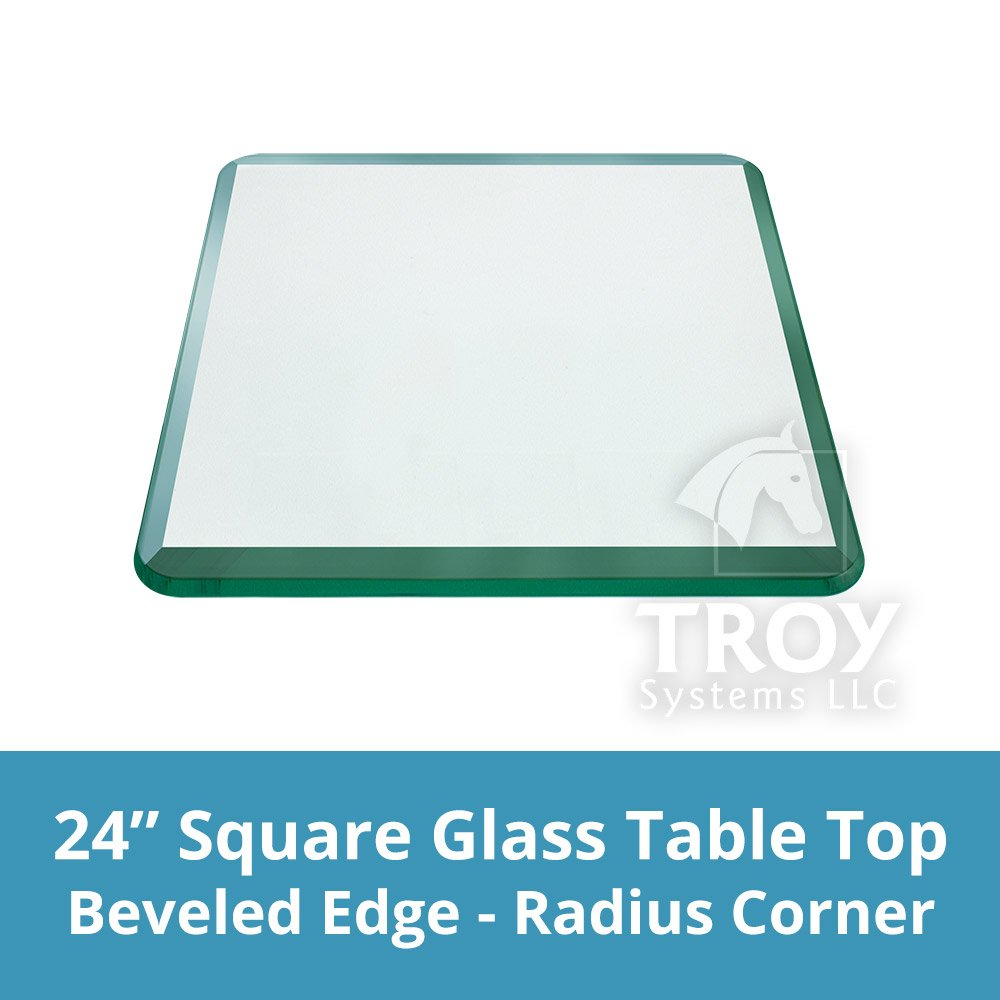 Get Quotations · TroySys Square 1/2 Inch Thick Bevel Polished Annealed Glass  Table Top Radius Corner,