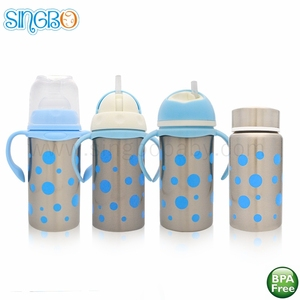 Stainless steel baby vacuum flask feeding bottle with nipple