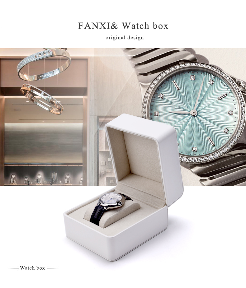 FANXI China Wholesale Custom Logo Luxury black PU Leather watch box with stitching  jewelry boxes White Watch Packaging Box