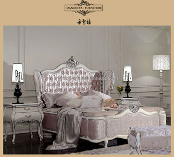 French Baroque Queen Size Elegant Pink Fabric Sex Bed Set Buy