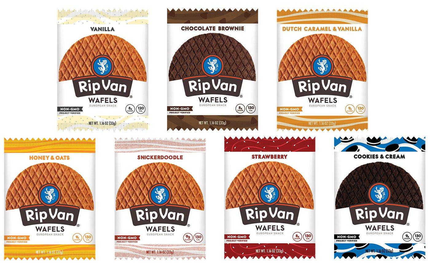 Rip Van Wafels 7 Flavor Variety Pack w/ Chocolate Brownie, Vanilla, Honey & Oats, Dutch Caramel & Vanilla, Snickerdoodle, Strawberry, Cookies & Cream (14 Pack)