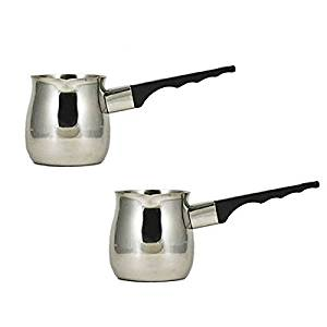 (Pack of 2) 12 Oz. (Ounce) Turkish Coffee Decanter, Espresso Decanter, 18/8 Stainless Steel, Barista Coffee Decanter Pitcher
