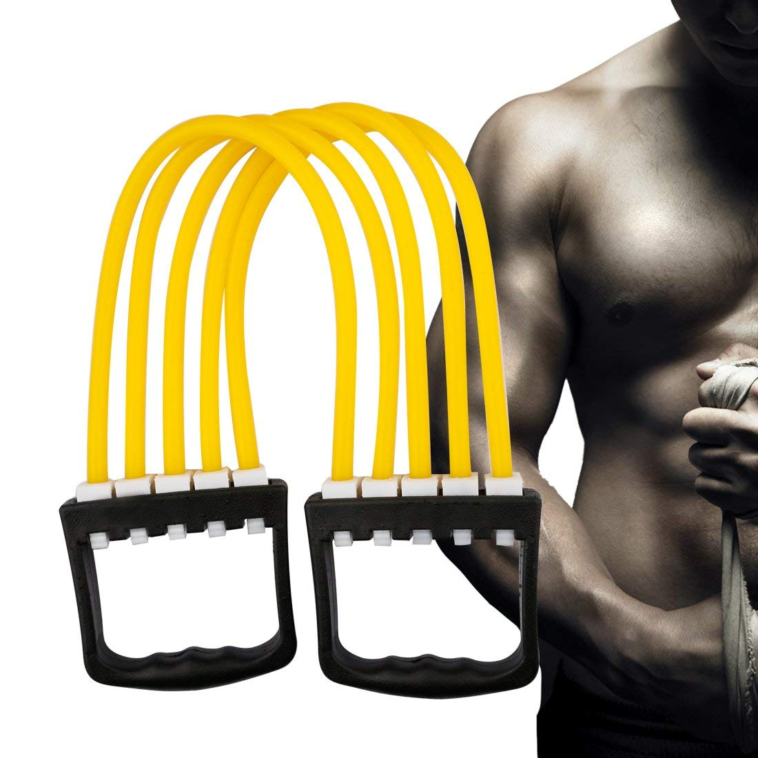 5 Spring Chest Arm Tubing Expander Exercise Fitness Strength Muscle Stretching