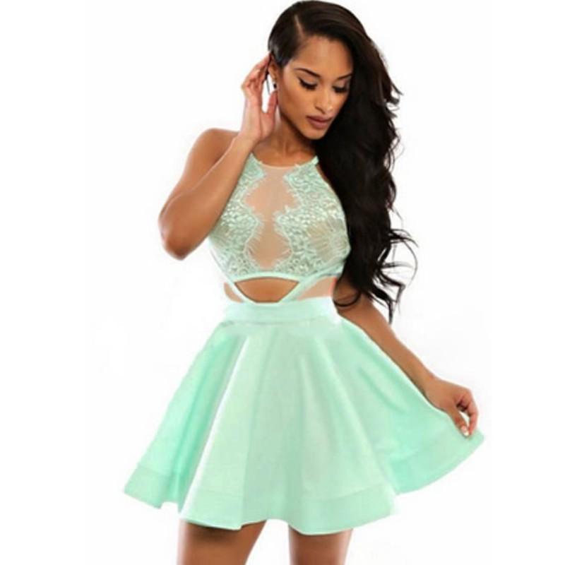 827f4cc2f55 Buy Women summer short dresses 2015 new sexy green red lace dress cutout  women skater dress elegant cute 22072 vestido de festa in Cheap Price on  m.alibaba. ...