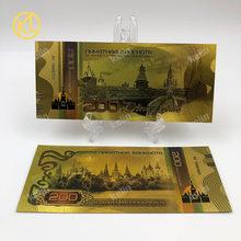 Горячая 1 шт ру006 Топ новый красочный Россия 100 рубль сувенирная Банкнота с золотой фольгой для фанатов рекламные подарки(Китай)