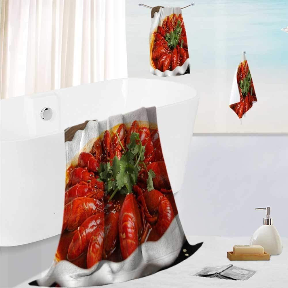 "AmaPark Bath Towel Set Design Spicy Crayfish Thick, Plush, Absorbent 19.7""x19.7""-13.8""x27.6""-31.5""x63"""