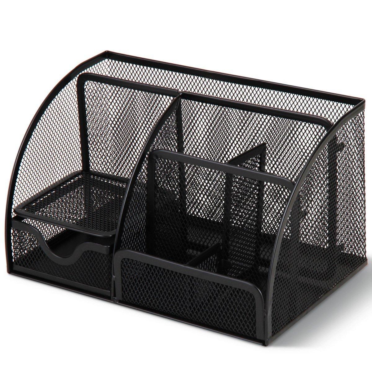 Tmarton Features Elegant Metal Wire Mesh Office School Supply Desktop Organizer Caddy,6Compartment With 1Drawer, Black