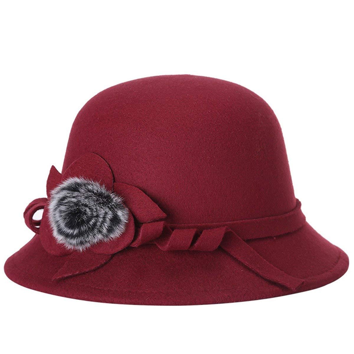1a00f5d85338c Get Quotations · EUBUY Women Vintage Wool Felt Bowler Hat Winter Fedora Hat  Floppy Hat Wide Brim Cloche Hat