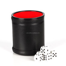 Professional PU Leather Dice Cup Set with 5 Poker Dices (Black, Pack of 2)