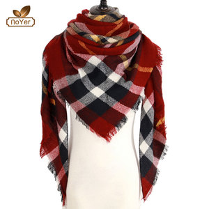 Classic Winter Women Oversized Blanket Wrap Warm plaid cashmere women scarf
