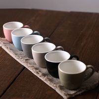 Simple solid color small 100ml Italian concentrated espresso ceramic cup flower tea mug