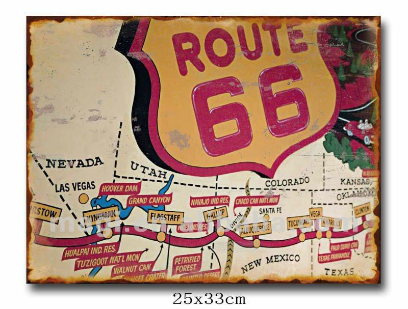 Vintage Map For Trip Route Metal Wall Decor Sign