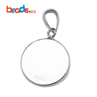 Beadsnice Pendant Blanks Bezel with Bail Solid Sterling Silver Bezel Cabochon Setting Base ID27603