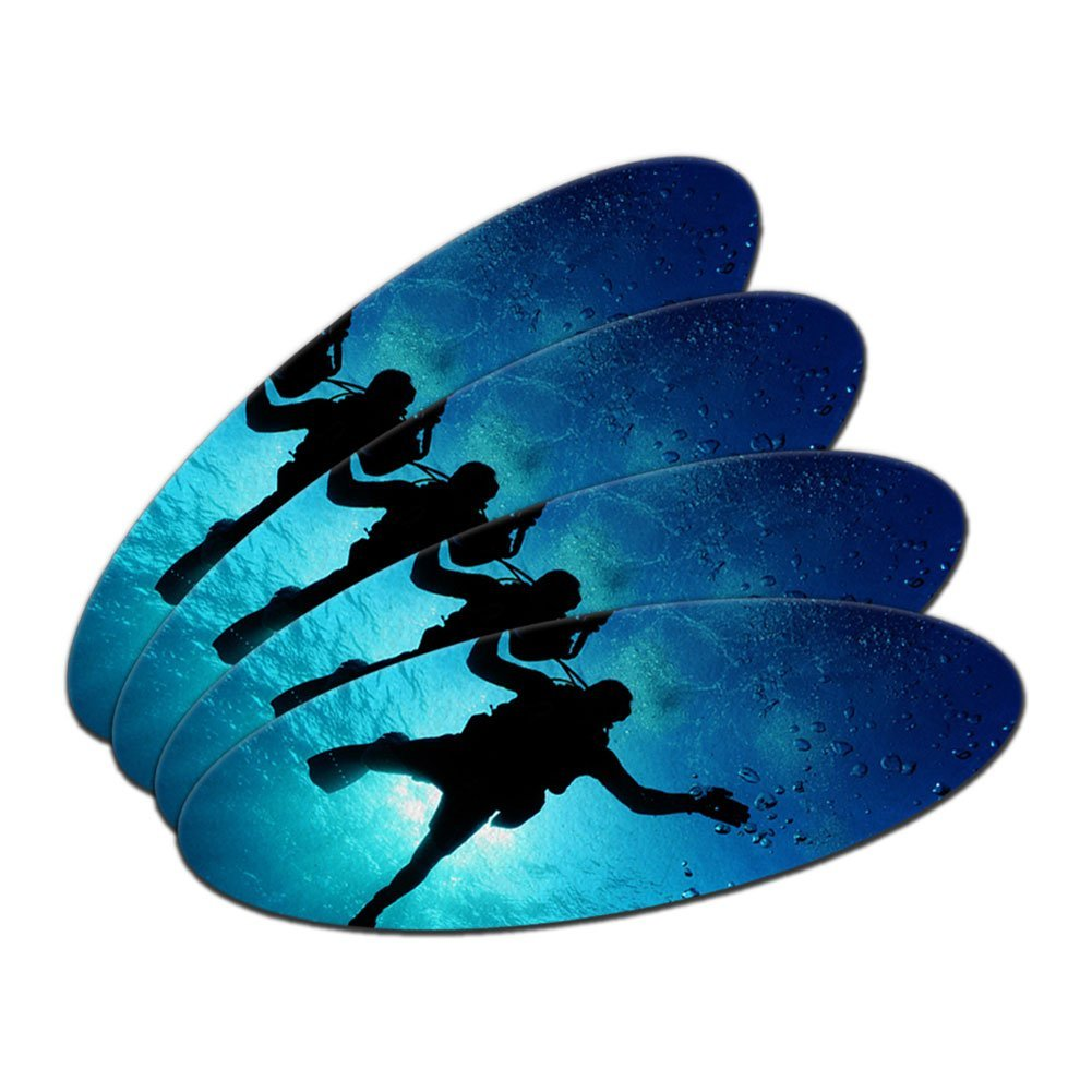 Scuba Diver - Diving Underwater Double-Sided Oval Nail File Emery Board 4 Pack