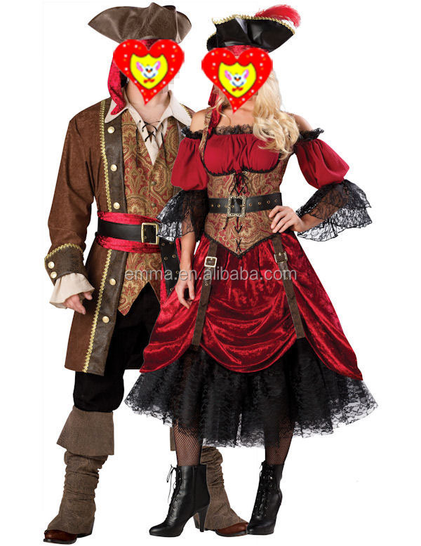 Best selling adult unisex men & female girls halloween party cosplay pirate costume BWG8704