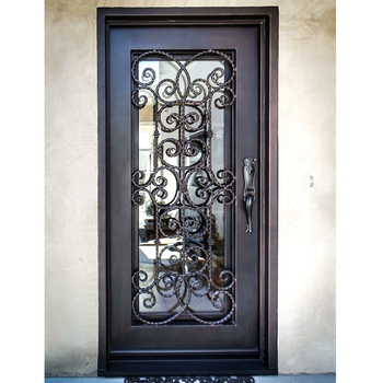 China Supplier Fashion Single Wrought Iron Exterior Entry French Doors Door Product On