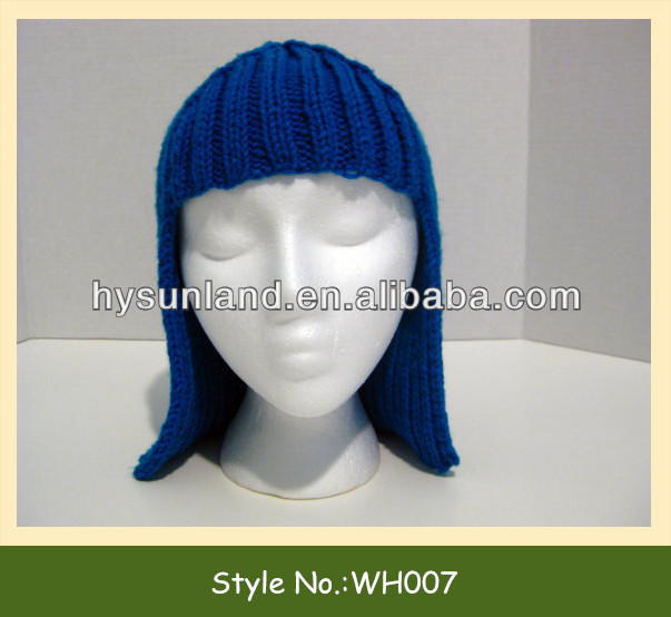 Knit Wig Hat Hair for Halloween Accessory