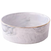 New design round luxury pet bowls marble ceramic dog bowl with gold rimmed