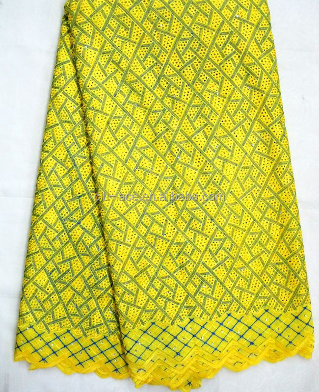 wholesale high quality 100% cotton yellow and royal polish swiss voile lace austria j282-2