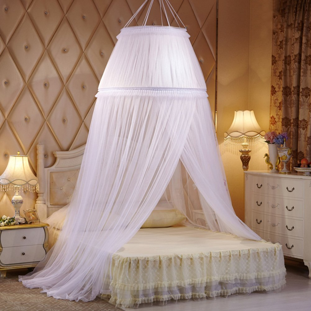 Lace ribbon dome bed canopy, Dome Palace mosquito net Hanging princess style bed canopy curtains for twin Queen and king size bed-A King