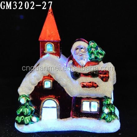 HOT new style LED glass village house /christmas glass snow house