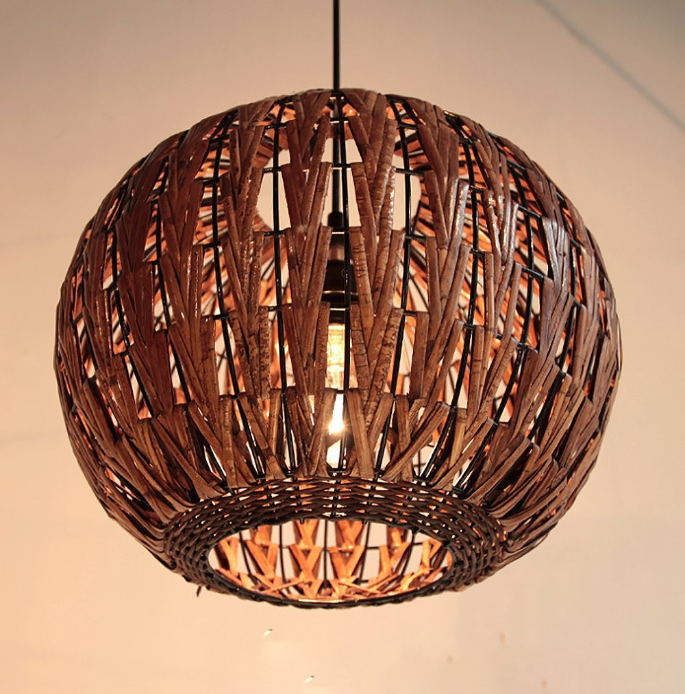 Get Quotations Haixiang Tropical Bamboo Chandelier Diy Wicker Rattan Lamp Shades Weave Hanging Light Round