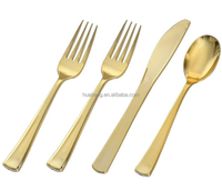 2018 high quality eco-friendly disposable plastic gold cutlery set with fork/knife/spoon