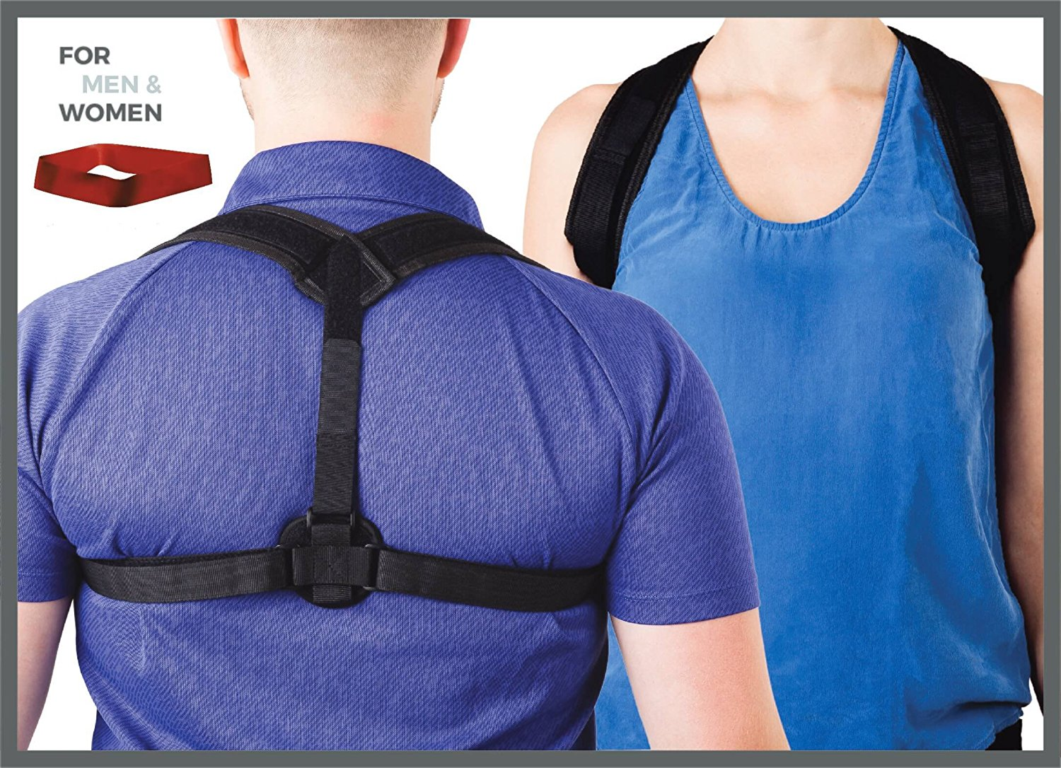 Posture Corrector for Women & Men - Adjustable back brace for upper and lower back correction - Posture, lumbar, clavicle and shoulder support in a natural way - Exercise resistance band included