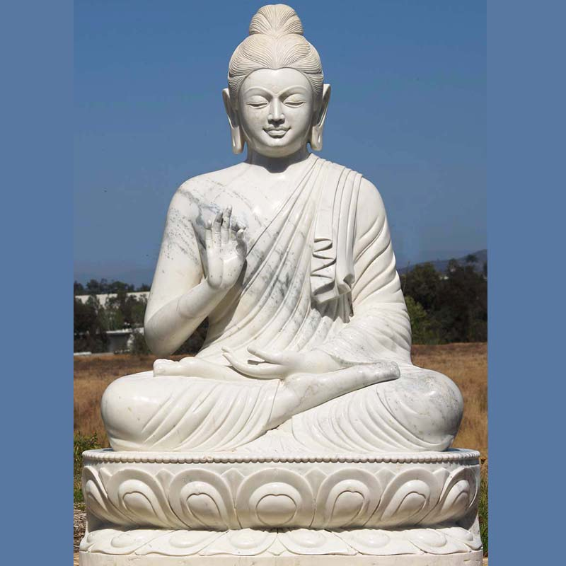 Indian Buddhist Sculpture Life Size White Marble Stone Gandhara Buddha Seated On Lotus Statue