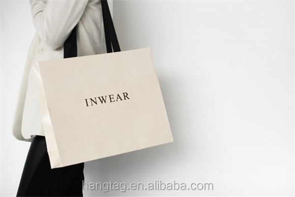 Custom Printed White Printed Paper Bag with shoulder length handle