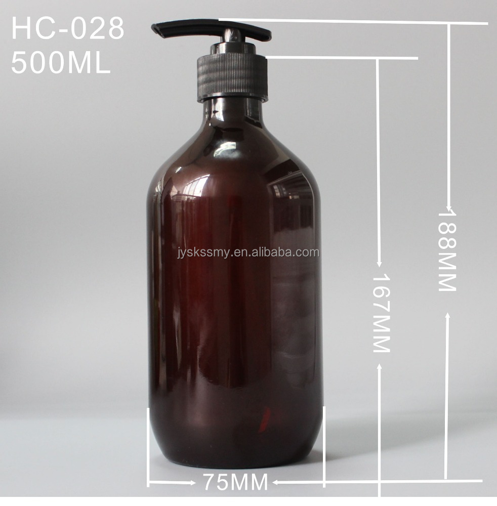 500ml empty amber PET bottles with lotion pump sprayer