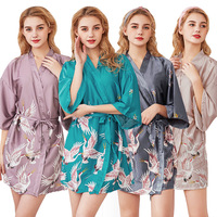 Bride Bridesmaid Bathrobe Short Kimono Robe Night Robe Bath Robe For Women