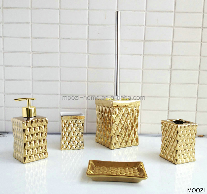 Gold coloured bathroom accessories ceramic gold bath set for Gold bathroom accessories sets