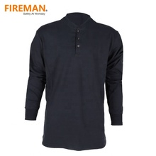 NFPA 2112 7oz cotton long sleeves V neck FR fire flame resistant knit jersey henley shirt